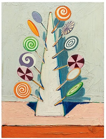 <i>sucker tree,</i> 1962<br>oil on canvas<br>24.13 x 18 inches<br>acquavella galleries by wayne thiebaud
