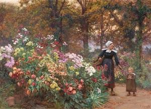 la cueillette des fleurs en bretagne by théophile-louis deyrolle