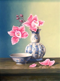 delft blue and orchids by chris overbeeke