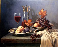 still life with wine glass and wine pitcher by chris overbeeke