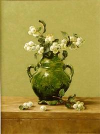 historic jar with snowberries by chris overbeeke