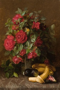 still life with roses, bananas, and figs by susie w. dugan