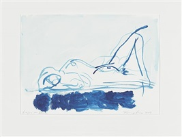 laying on blue by tracey emin
