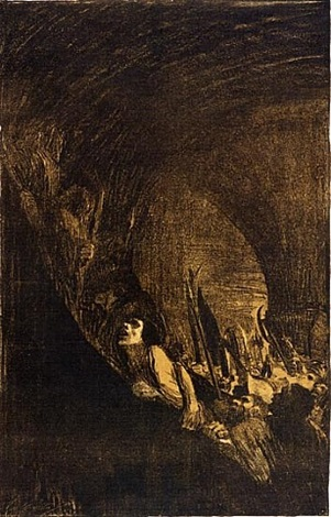 arming in a vault by käthe kollwitz