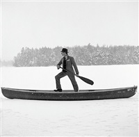 man in snowy canoe by rodney smith