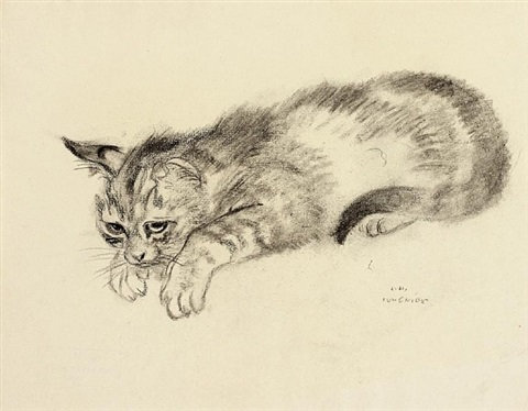 small reclining cat by ludwig heinrich jungnickel