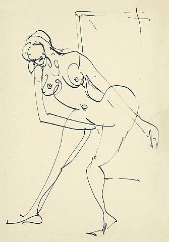 tanzender weiblicher akt im atelier by ernst ludwig kirchner