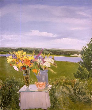 lizzie's flowers in a landscape by jane freilicher