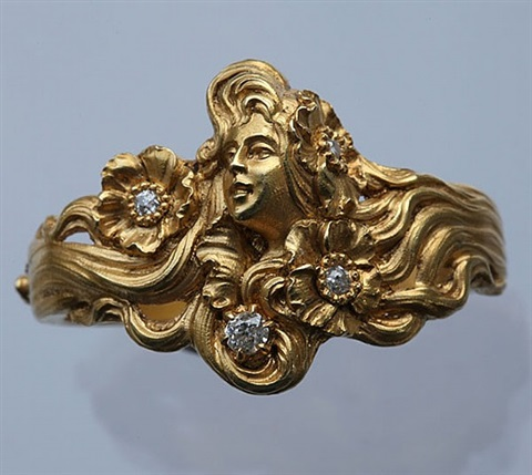superb art nouveau scarf ring by plisson & hartz
