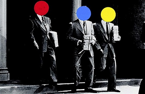 three men in suits by john baldessari
