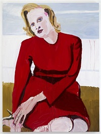 big blonde in a red dress by chantal joffe
