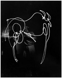 picasso space drawing, france by gjon mili