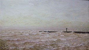 untitled (jetty with black stanchion and churning sea) by john cobb