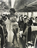 a fashion show on board the new york, new haven, and hartford railroad's show train by dan weiner