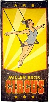 miller bros. circus trapeze banner by arthur k. miller