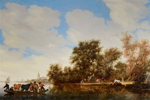 a river landscape with a cattle ferry by salomon van ruysdael