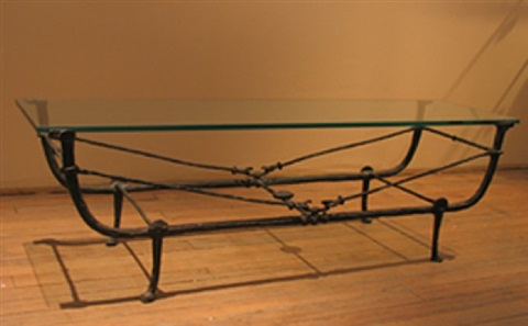 table berceau, seconde version en bronze patiné et plateau de verre by diego giacometti