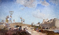 the beach at st. malo, france by william russell flint