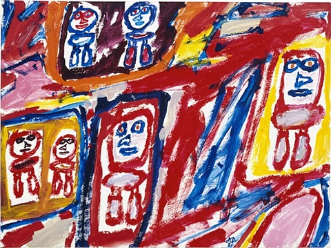 site avec 6 personnages, july 1, 1981 by jean dubuffet