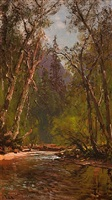creek in yosemite valley by thomas hill