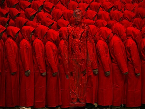 hiding in the city - red no. 2 by liu bolin