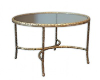 gilt bronze and glass coffee table by charles et fils