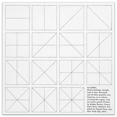 straight lines in four directions & all their possible combinations by sol lewitt