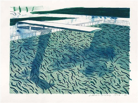 lithograph of water made of thick and thin lines and two light blue washes by david hockney
