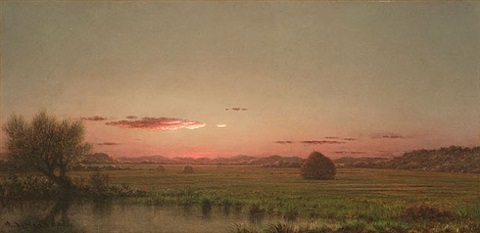 orange sunset over the marsh (possibly a jersey meadow) by martin johnson heade