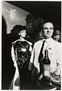 waiter carrying carpano by jeanloup sieff