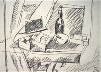 still life with a bottle and top hat by petr petrovich konchalovsky