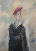 portrait of a lady in a black dress by mikhail sokolov