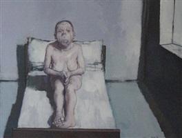 femme assise sur son lit by jean rustin