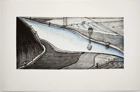 dark hill river by wayne thiebaud