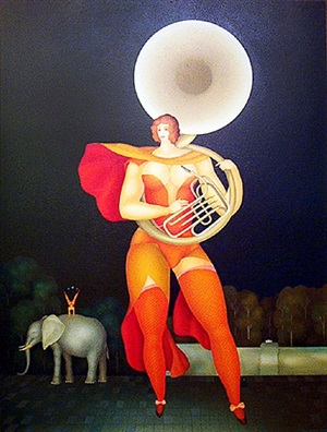 acrobat with trumpet by igor galanin