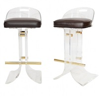 pair of charles hollis jones lucite bar stools by charles hollis jones