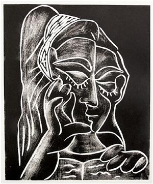 jacqueline lisant, de trois quarts (baer 1294) by pablo picasso
