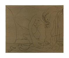 femme nue pechant des truites a la main (baer 1327) by pablo picasso