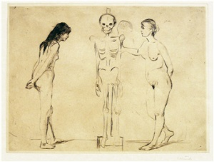 kvinnene ved skjelettet (the women and the skeleton) by edvard munch