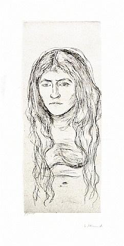 kvinnestudie med langt hår (woman with long hair) by edvard munch