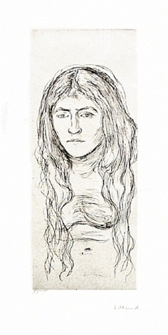 kvinnestudie med langt hår (woman with long hair) by edvard munch