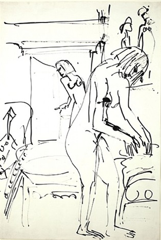 interior with female nudes by ernst ludwig kirchner