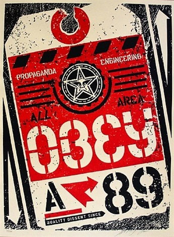 luggage tag by shepard fairey