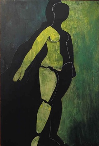 cubist nude in green by robert mcintosh