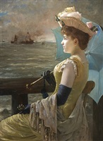 looking out to sea by alfred stevens