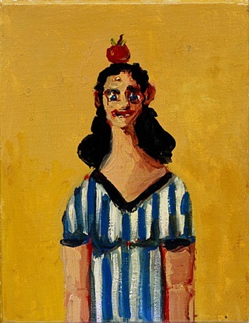 girl in striped dress by george condo