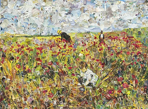 picking flowers in a field, after mary cassatt by vik muniz