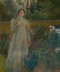 woman in the garden, harper's magazine story illustration by edwin austin abbey