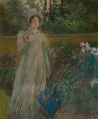 woman in the garden, harper's magazine story illustration by edwin austin abbey