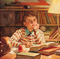 young boy studying by harold n. anderson